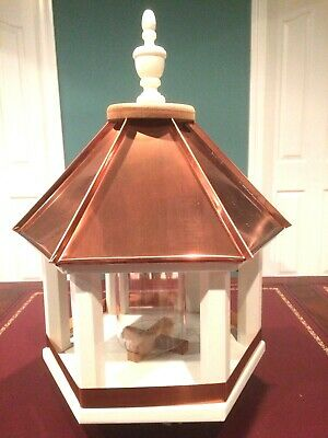 Custom Made, Hand-Crafted Bird Feeder (Unique), Copper Roof, Hexagon Frame, New