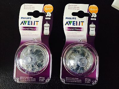 **New AVENT Natural Lot 2 bottles nipples Fast flow age 6+.total of 4.