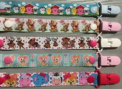 CUTE ANIMALS Baby Boy/Girl Dummy Clip/Pacifier Chain/Binky Band/Soothe33