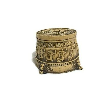 Egypt Handmade Ceramic Round Box Engraved Ramsis II Chariot Sandstone Color