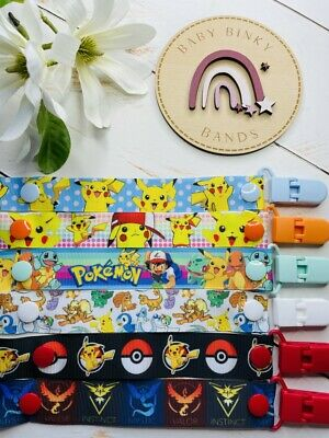 POKEMON Dummy Clip/Pacifier Chain/Binky Band/Soother Baby Boy/Girl 0