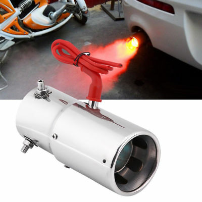 Spitfire Car LED Exhaust Pipe Muffler Red Light Tail End Pipe 70mm Universal