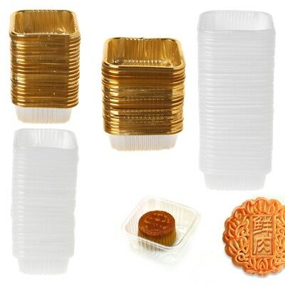 100Pcs 50g 100g Square Moon Cake Trays Mooncake Package Box Container Holder