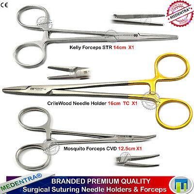 3pc Suture Practice Forceps Surgical Suturing Needle Holder Crile Mosquito Kelly