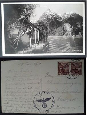 "SCARCE 1940 Switzerland Postcard ""Tell Chapel and Uri Rotstock"" ties 2 stamps"