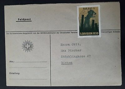 c.1940 Switzerland Military Cover ties Soldier's  stamp canc Stabskp. Sap.Bat.5