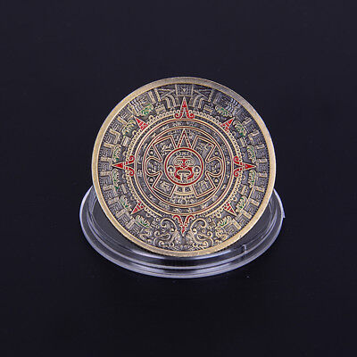 1pc brown plated mayan aztec prophecy souvenir commemorative coin collection P