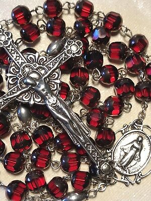 Most Beautiful Vintage Ruby Red Hand Cut Crystal & Sterling Silver Rosary Beads