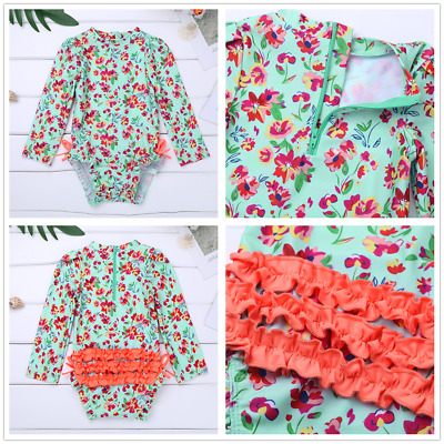 Kids Baby Girl Long Sleeve Rash Guard Swimsuit One-piece Surf Beachwear Swimwear
