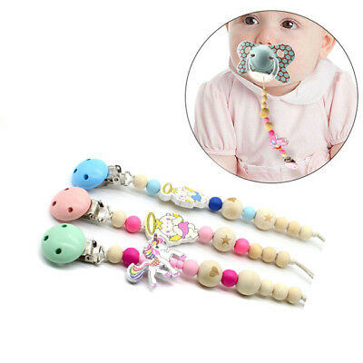 Candy Color Baby Wooden Beads Pacifier Clip Chain Nipple Teether Pacify Kid ToyZ