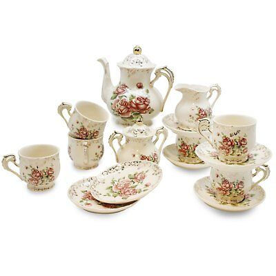 European Red Rose Tea Set , Teapot Set -15 pcs Includes Cup and Saucer , Creamer