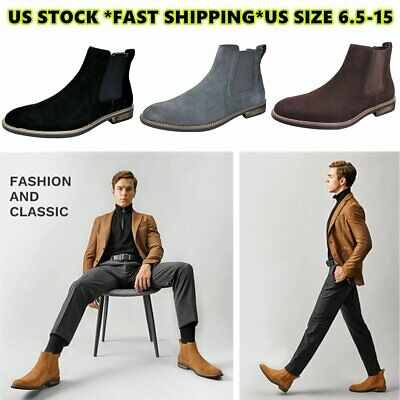 BRUNO MARC  Men Suede Leather Chelsea Chukka  Dress Ankle Boots Casual Shoes