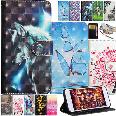 Painted Leather Folio Protective Case Card Holder Stand Cover For Alcatel Phones