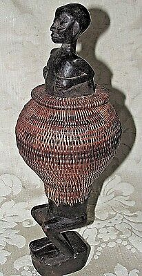 Antique Africa Wood Woven Grass Canister Container Tribal Native Estate 27CmT