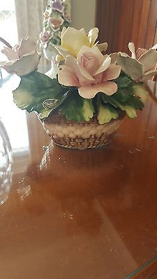 Vintage Capodimonte Porcelain Basket with applied flowers