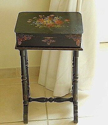 Antique French Table, Work Table, Bedside Table, Napoleon 111 Hand Painted Box