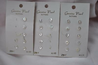 "24 Vtg Small Pearl Buttons Doll Clothes Orig Card Japan 3/16"" B72"