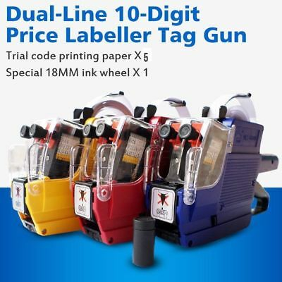 LOT1~30X Price Tag Gun MX-6600 Dual-Line 10-Digit Labeler With 5 Volume Tags -OY