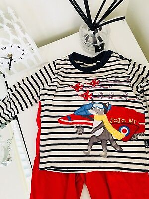Jojo Maman Bebe Red Arrows Top/red Striped Trouser Set 12-18 Months