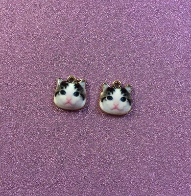 2 Very Cute Alloy Cat Face Charms Black & White in colour