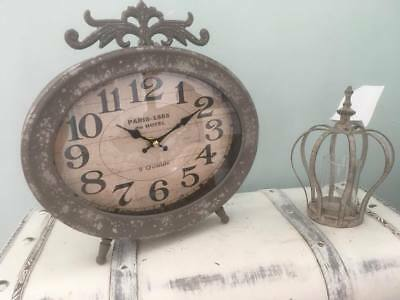 Large Oval French Vintage Shabby Chic Retro Style Metal Mantel Clock~Home Decor