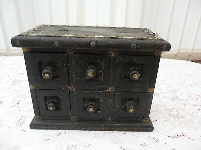 Early Apprentice Piece Wooden Miniature Chest Of Six Drawers With Brass Mounts