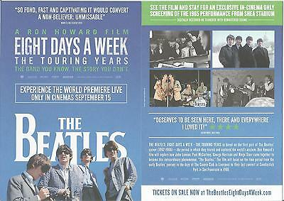 The Beatles  Eight Days A Week  Touring Years  Ron Howard Film  2016 Promo Flyer