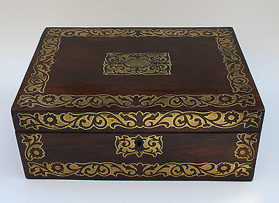Early 19th Century Regency Rosewood and Brass inlaid Jewellery Box