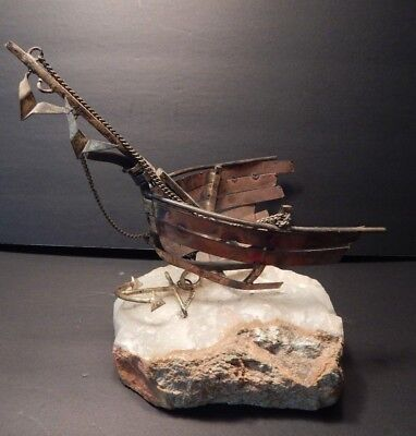 Curtis Jere Mid Century Shipwrecked Boat W/ Anchor And Flying Seagulls Sculpture