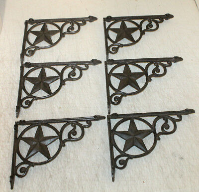 6 Shelf Garden Brackets Supports Cast Iron Brace Antique Style Star 7 x 9 1/2