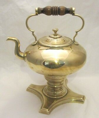 A Good Large 19th Century Brass Kettle on Stand / Spirit Kettle