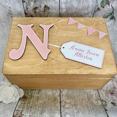 Personalised New Baby Girl Wooden Keepsake Box Christening Wood Gift Pink