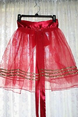 AVON Red Sheer with Gold Rick Rack Vintage Style Apron - One Size Fits All