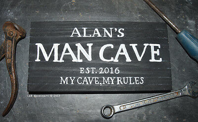 Man Cave Shed Garage Personalised Wooden Sign Est. Gift Wall Art Plaque