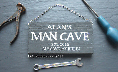 Man Cave Shed & Chain Garage Personalised Wooden Sign Est. Gift Wall Art Plaque