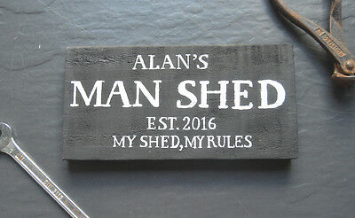 Personalised Man Shed Cave Garage Daddy's Wooden Sign Est. Gift Wall Art Plaque