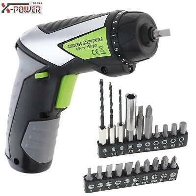4.8V Cordless Ni-Cd Electric Screwdriver LED Bit Drill Set Rechargeable Power