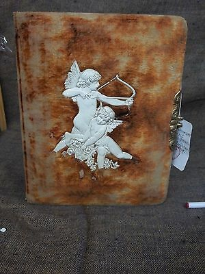 Vintage 1890's Photo Album Velvet Angel Cherub with some Photos