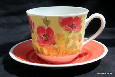 Roy Kirkham Large Bone China Breakfast Cup & Saucer Colour Your World Poppies