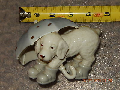 Lenox Porcelain Figurine of Dog Carrying Umbrella with Rain Boots