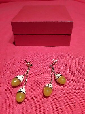Maty Joaillerie:boucles D'orelles Plaque Or-Ambre-Email...neuf !!!