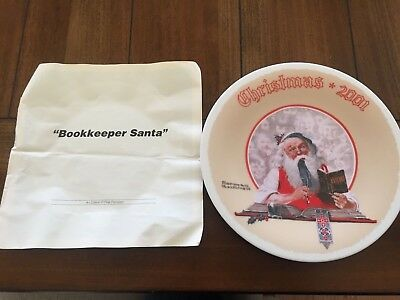 """Bookkeeper Santa"" Norman Rockwell Christmas 2001 Plate"
