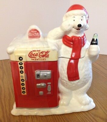 Vintage Unopened COCA COLA Cookie Jar Polar Bear Vending Machine with Tags 1987