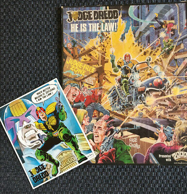 Rare Vintage Ron Smith Judge Dredd Poster (from a 1983 2000ad) and Postercard