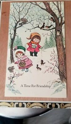"""Vintage Gyo Fujikawa - Christmas Card With Children - """"A Time For Friendship"""""""