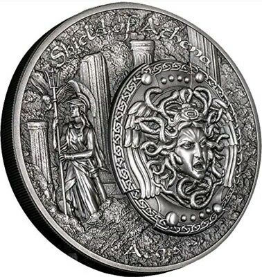 2018 2 Oz Silver $10 SHIELD OF ATHENA Aegis Mythology Ultra High Relief Coins.