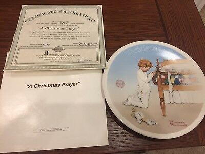"""A Christmas Prayer"" Norman Rockwell Christmas 1990 Plate"