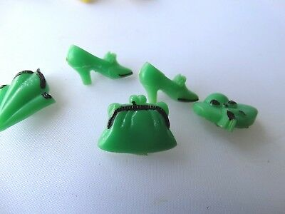 """5 Green  Vintage Plastic Buttons Approximately 3/4"""" Hat, Purse, and Hanky"""