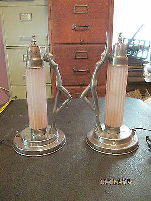 1 pair Vintage Art Deco Lady Pink Fluted Frosted Shades