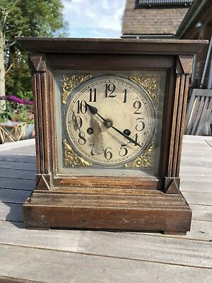 Old Mantel Clock With Wooden Case
